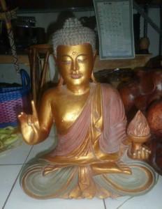 asianartmaui.com-Golden Teaching Buddha holding Flame
