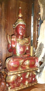 asianartmaui.com Thai Buddha, red & gold, teaching mudra.