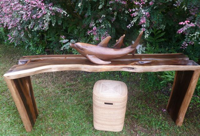 asianartmaui.com/furniture/hand-crafted Monkey Pod console